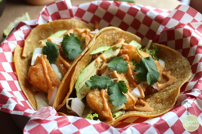 Fishless tacos with chipotle crema. These vegan fish tacos will whisk you to the beach | cadryskitchen.com