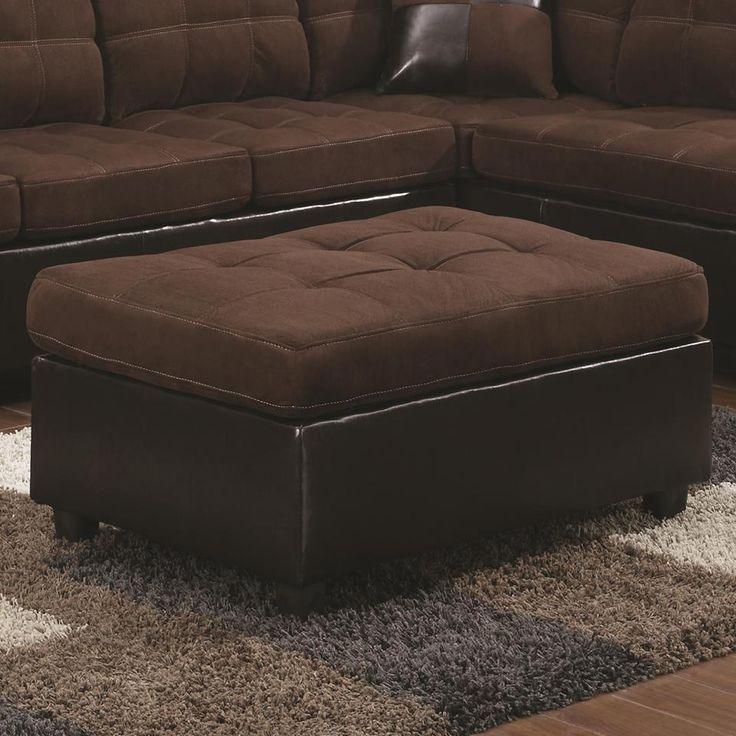 Harlow Dark Brown Microfiber Two Tone Ottoman by Coaster  http://www.ubuyfurniture - 24 Best Ottomans And Footstools Images On Pinterest Ottomans