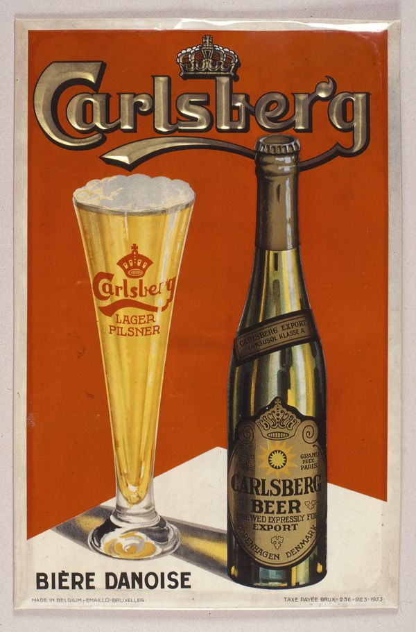 Carlsberg poster created for markets in Belgium and Great Britain. 1930s. The poster can be purchased on http://www.thirstforgreat.com/