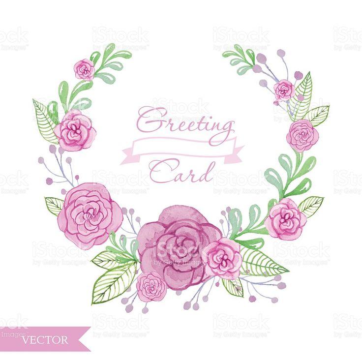 цветок венок акварельным изображением роз. Цветочные кадр векторный рисунок Сток Вектор Стоковая фотография