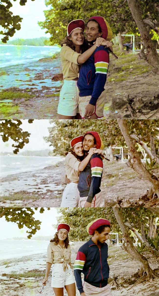 Bob Marley on the beach with Cindy Breakspeare (Miss World 1976 and the mother of Damien Marley)