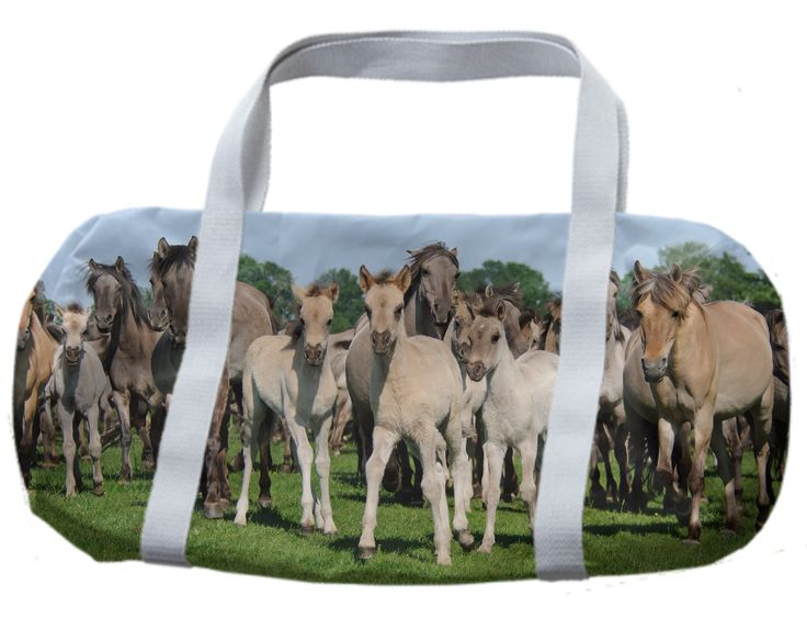 Wild horses with foals, Dulmen ponies DUFFLE BAG from Print All Over Me