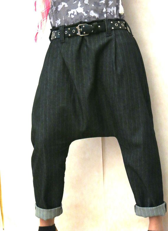Black denim harem pants with pinstripe scasual by OnniPalermo