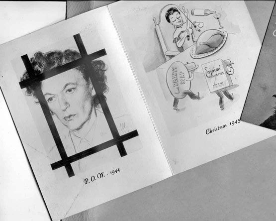 Gertrude Legendre's 1945 Christmas card was a sketch of her as a captured POW and the present Christmas showing her celebrating with the essentials. She was an American socialite who served as a spy for the Office of Strategic Services (OSS). She was the first American woman captured on the western front in France by the Germans. Legendre was held as a prisoner of war for six months before she was able to escape into Switzerland.