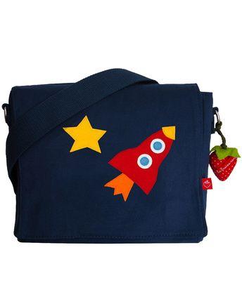 Kindergartentasche RAKETE   (personalisierbar) in blau