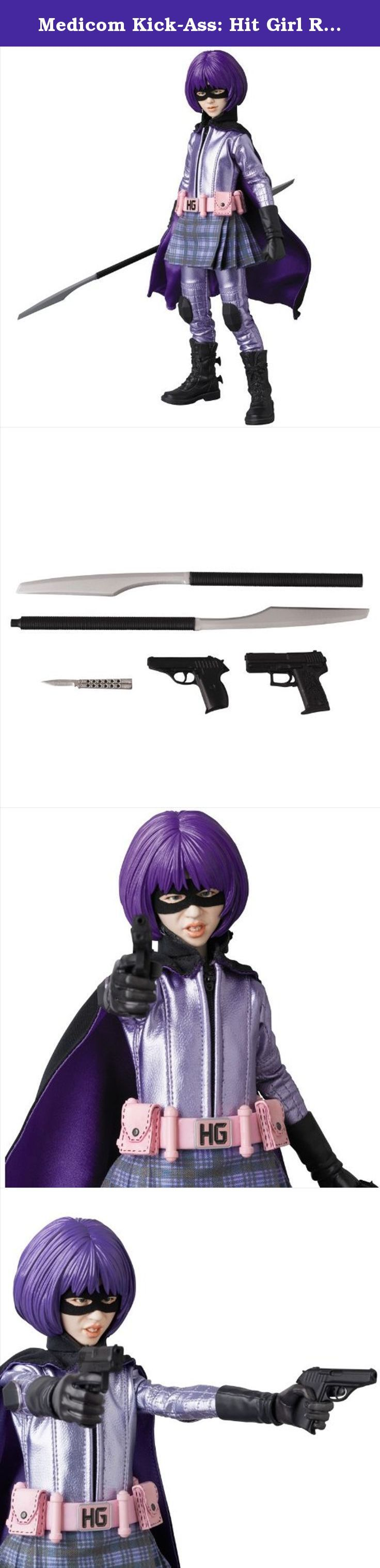 "Medicom Kick-Ass: Hit Girl Real Action Hero Figure. From MEDICOM Toy. Capturing the likeness and fierce performance of actress Chloe Grace Moretz in a figure standing approximately 12"" H, this Real Action Figure of Hit Girl from the original Kick Ass comes with a detailed reproduction of her costume, alternate facial expressions and plenty of weapons!."