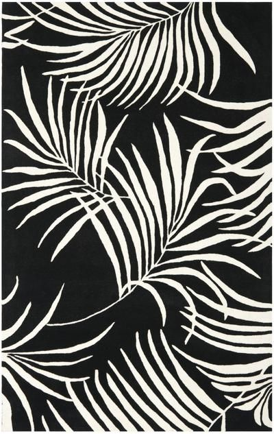 Black And White Area Rugs With Palm Leaf Pattern The