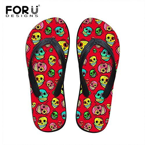 FOR U DESIGNS Personalized Red Skull Pattern Slippers for Lady Outdoor Travel Beach Women Shower Flip FlopsSize 12 * More info could be found at the image url.