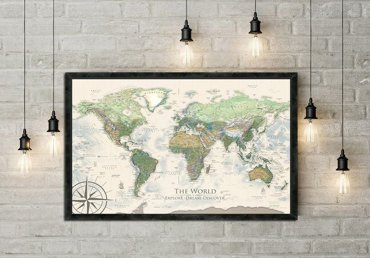 World Map Travel Map Push Pin Map Professional Cartography of the World Completely Made in the U.S.A.! The Nautilus World Map - Topographic World Map & Ocean Sea Life We modeled the Earth with our special 3D look of the World. Use as a Push Pin Map or a Wall Map. Includes 100 mixed colored