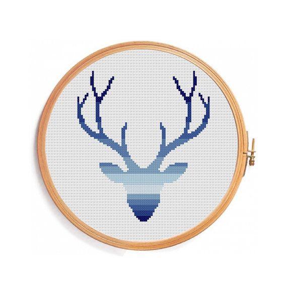 Deer cross stitch pattern  Ombre blue от PatternsCrossStitch