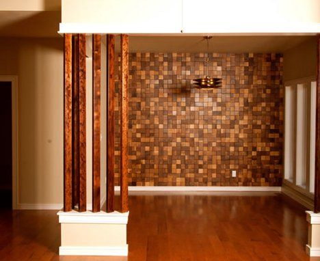 Wood tiles made twice in america barn wood finds new - Interior design wood walls ...