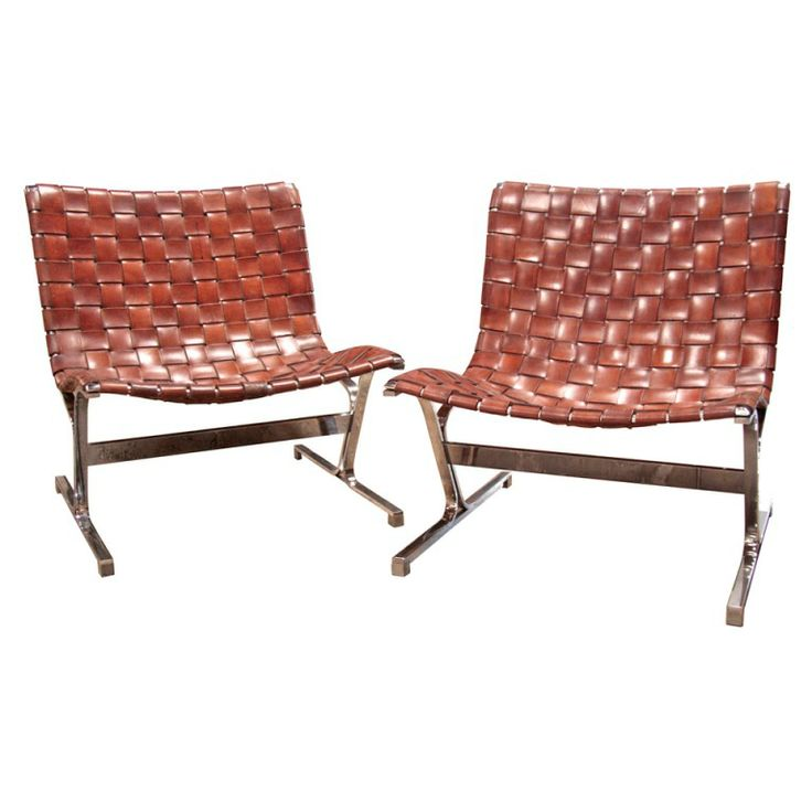 Ross Littell Steel U0026 Woven Leather Lounge Chairs | From A Unique Collection  Of Antique And