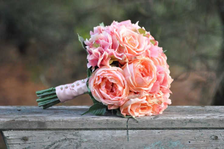 Wedding Flowers, Wedding Bouquet, Keepsake Bouquet, Bridal Bouquet, Coral Rose and Pink Hydrangea Wedding Bouquet made of silk flowers. by Hollysflowershoppe on Etsy https://www.etsy.com/listing/100507469/wedding-flowers-wedding-bouquet-keepsake