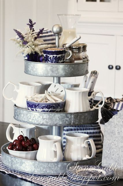triple tiered galvanized metal caddy