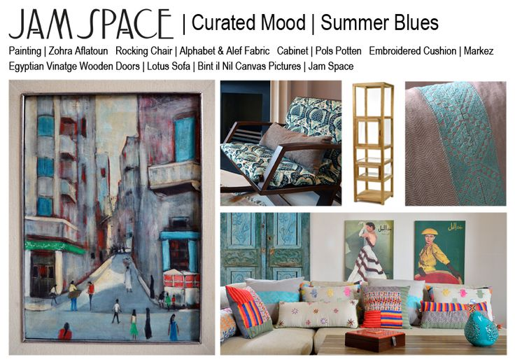 Our latest #moodboard...summer blues inspired by a painting by Egyptian artist Zohra Aflatoun