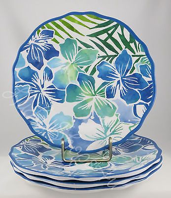 Tommy Bahama 4 Hibiscus Lei Flowers melamine side salad lunch plates blue green