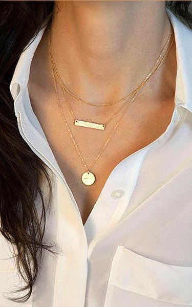 Bar and Pendant Layered Necklace - Features Matte Rectangle Pendant
