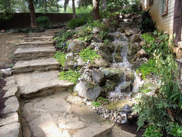 90 best images about pondless water features on pinterest for Garden waterfall design