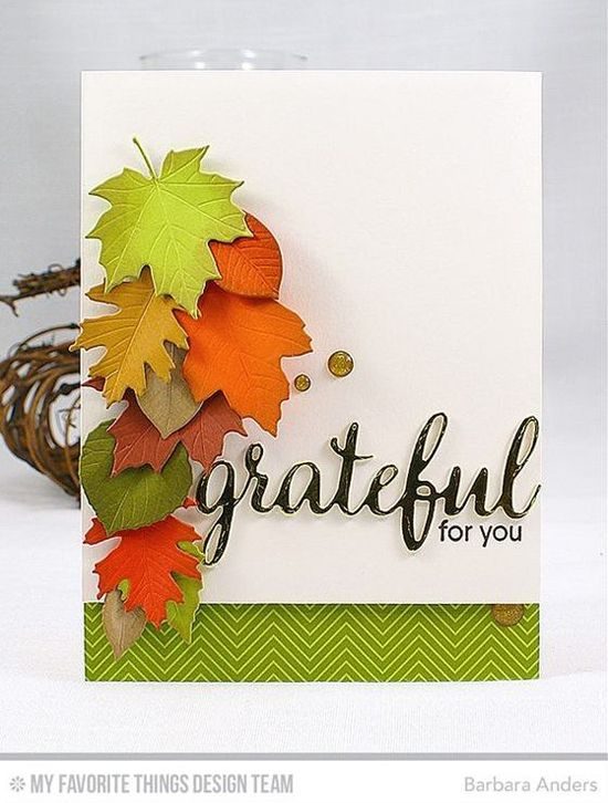 Handmade card from Barbara Anders featuring Grateful for You stamp set and Falling Leaves Die-namics #mftstamps
