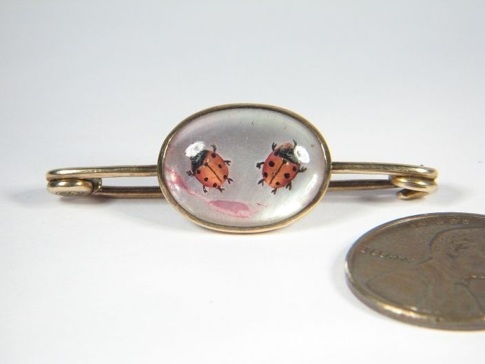 SUPER ANTIQUE VICTORIAN 9K GOLD ESSEX CRYSTAL LADYBUG LADYBIRD PIN BROOCH c1870, $319.50