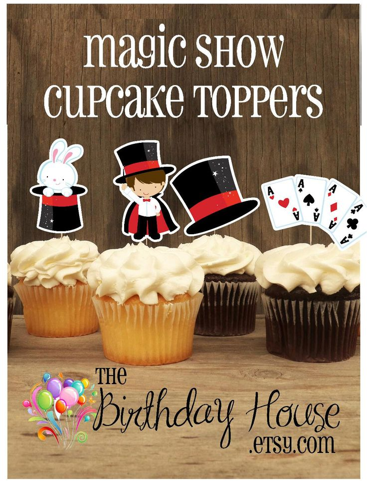 Magic Show Party - Set of 12 Assorted Magic Show Cupcake Toppers by The Birthday House by TheBirthdayHouse on Etsy https://www.etsy.com/listing/95447179/magic-show-party-set-of-12-assorted