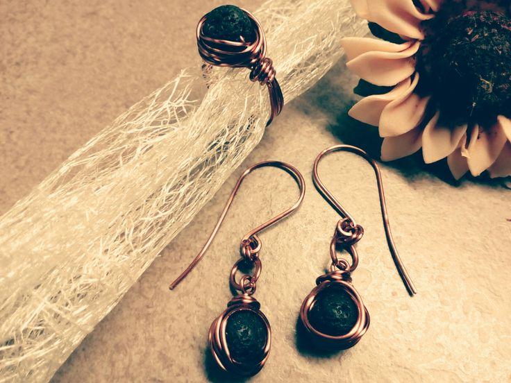 Δακτυλίδι και σκουλαρίκια με λάβα