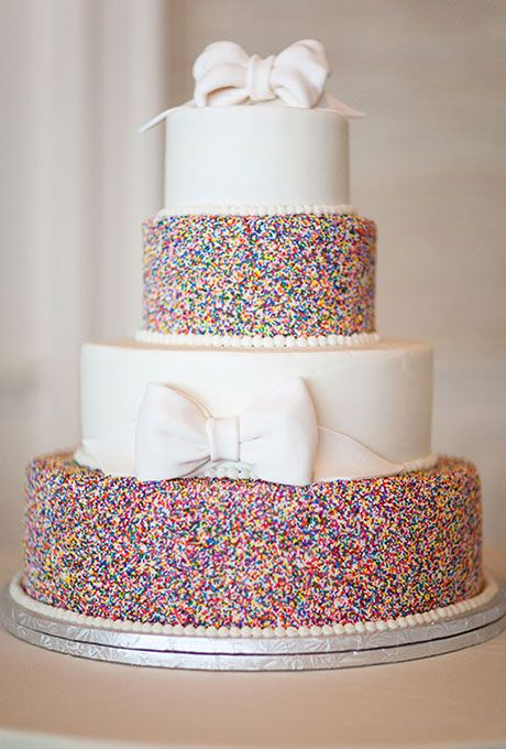 Sprinkle Wedding Cakes with White Fondant Bows and Rainbow Nonpareils | Brides.com