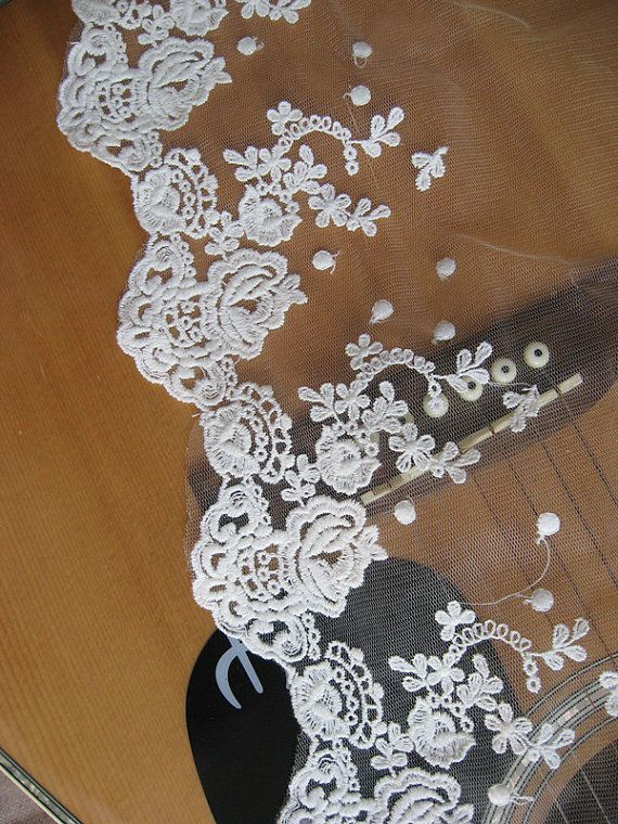Off White Embroidered Lace Trim Retro Bridal Flowers by LaceFun