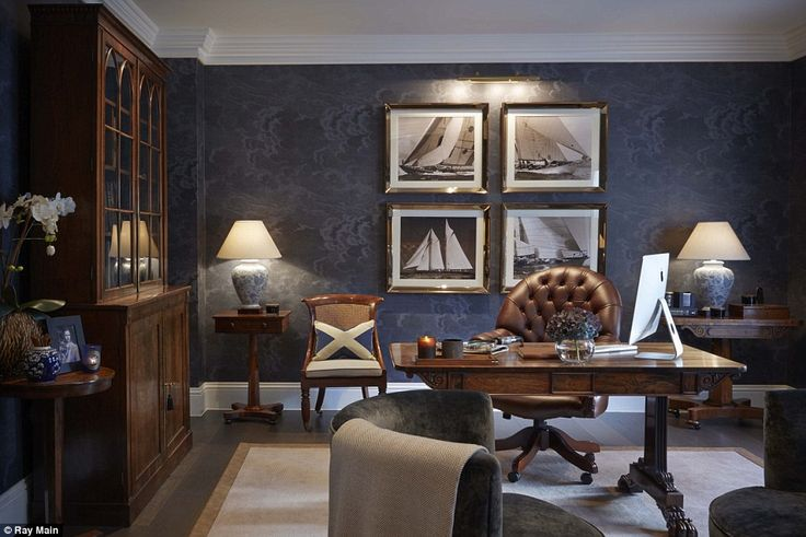 Sophie designed a swanky study for her tech tycoon husband, Kevin. She says the room is based around the traditional cigars-and-whisky-type feel of an old gentleman's club meets Ralph Lauren store