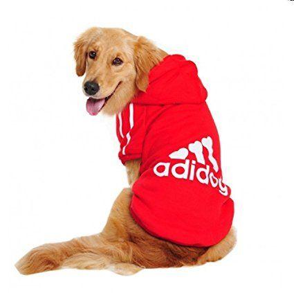 Costume felpa rossa con cappuccio Adidog per cane e gatto taglia XL