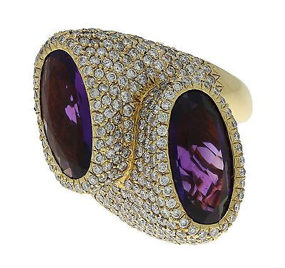 Sonia Bitton 18K Yellow Gold 5 ct Diamond and 20 ct Amethyst Pave Ring