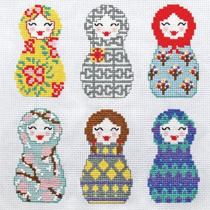 Babushka (nesting dolls) Cross Stitch pattern on Craftsy.com - I should be able to convert these to crochet...