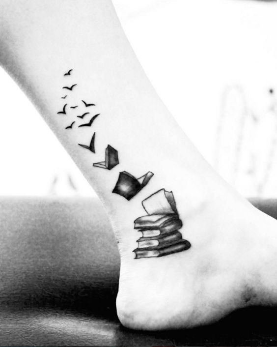 Books transforming into birds. #bookwormtattoos: