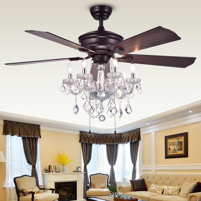 52 Ridgway 5 Blade Ceiling Fan With Light Kit Included Chandelier Fan Ceiling Fan Chandelier Ceiling Fan