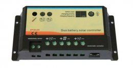 Laderegler EPIPDB-Com 12-24V 10A für 2 verschiedene Batterien   An diesem Regler können sie bis 320/ 640 Watt Modulleistung bei 12V/24Volt Batteriespannung anschliessen.  Der Regler wird zwischen Solarmodul, Verbraucherbatterie und Fahrzeugbatterie geschaltet und steuert den Ladevorgang so, daß die Batterien immer maximal geladen werden.
