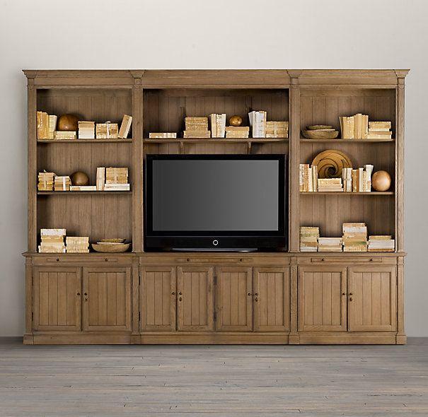 Large Library Media System | Wood Shelving & Cabinets | Restoration Hardware
