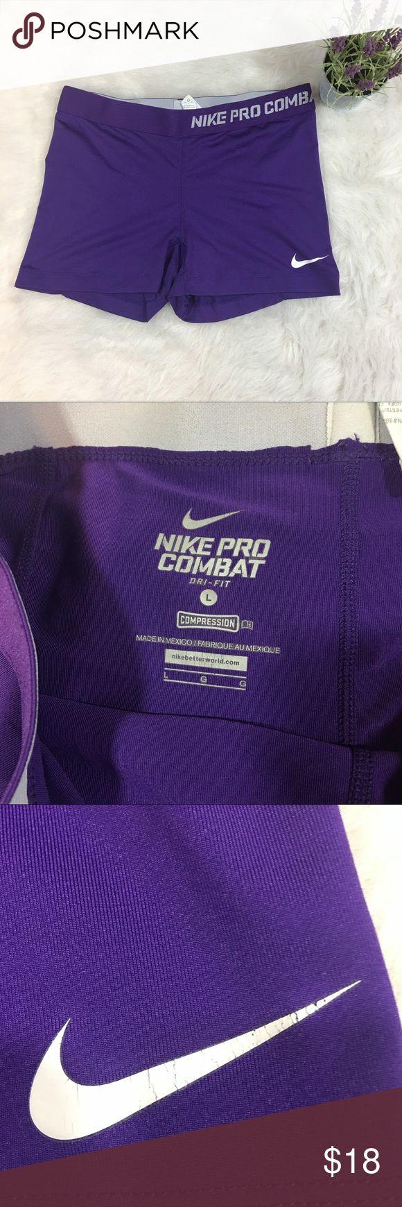 Nike Pro Combat Purple Dri Fit Shorts Large Nike Pro Combat women's compression shorts   Purple with white check  Large Nike Shorts