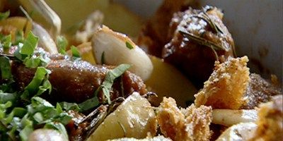 Baked Italian Sausages, with Potatoes and Rosemary. - Bill Granger