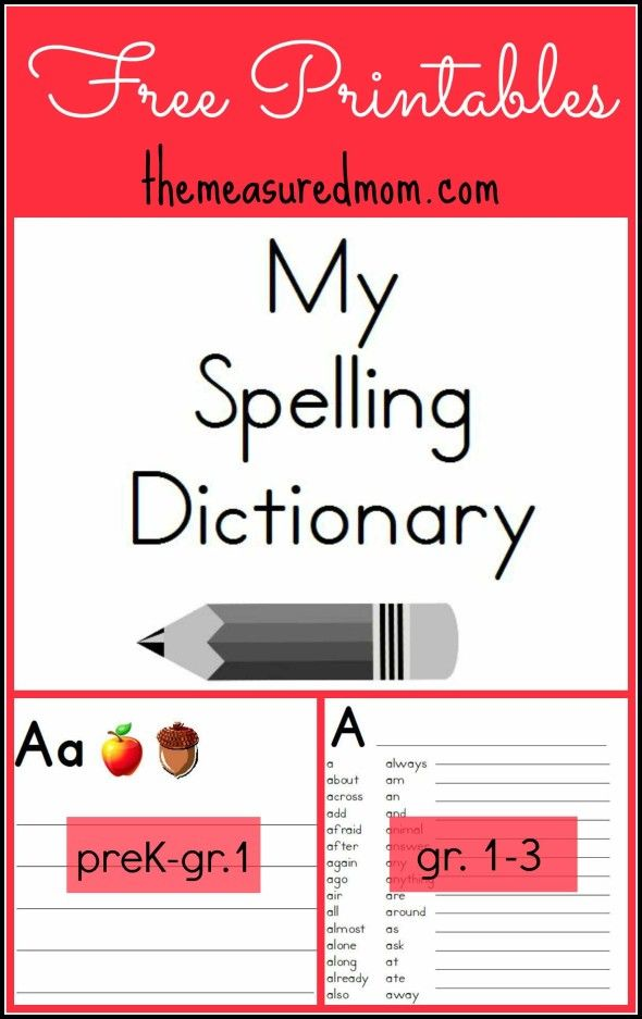 printable spelling dictionary for kids spelling