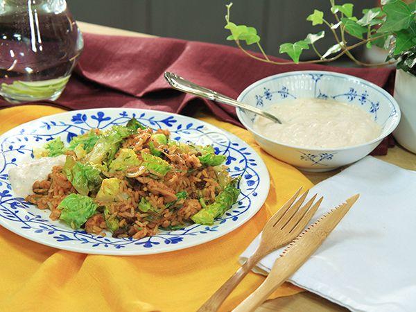 Kryddigt stekt ris med kyckling och dill | Recept.nu