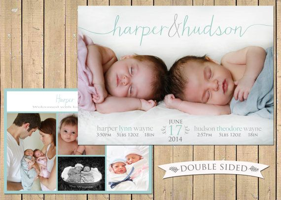 DOUBLE SIDED TWINS Photo Birth Announcement           by babybaloo