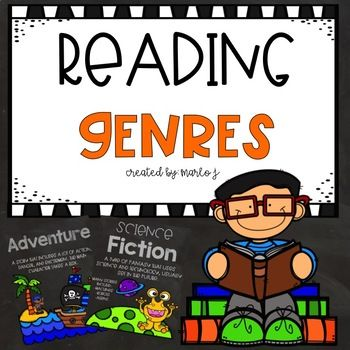 28 Reading Genres Posters--great visuals and simple definitions -- chalkboard theme