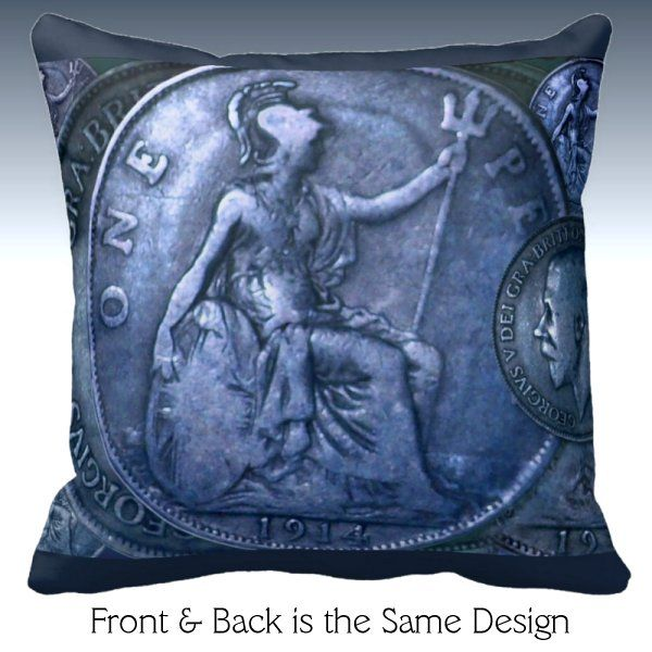Throw Pillow - Coinscape Great Britain - One Penny 1914
