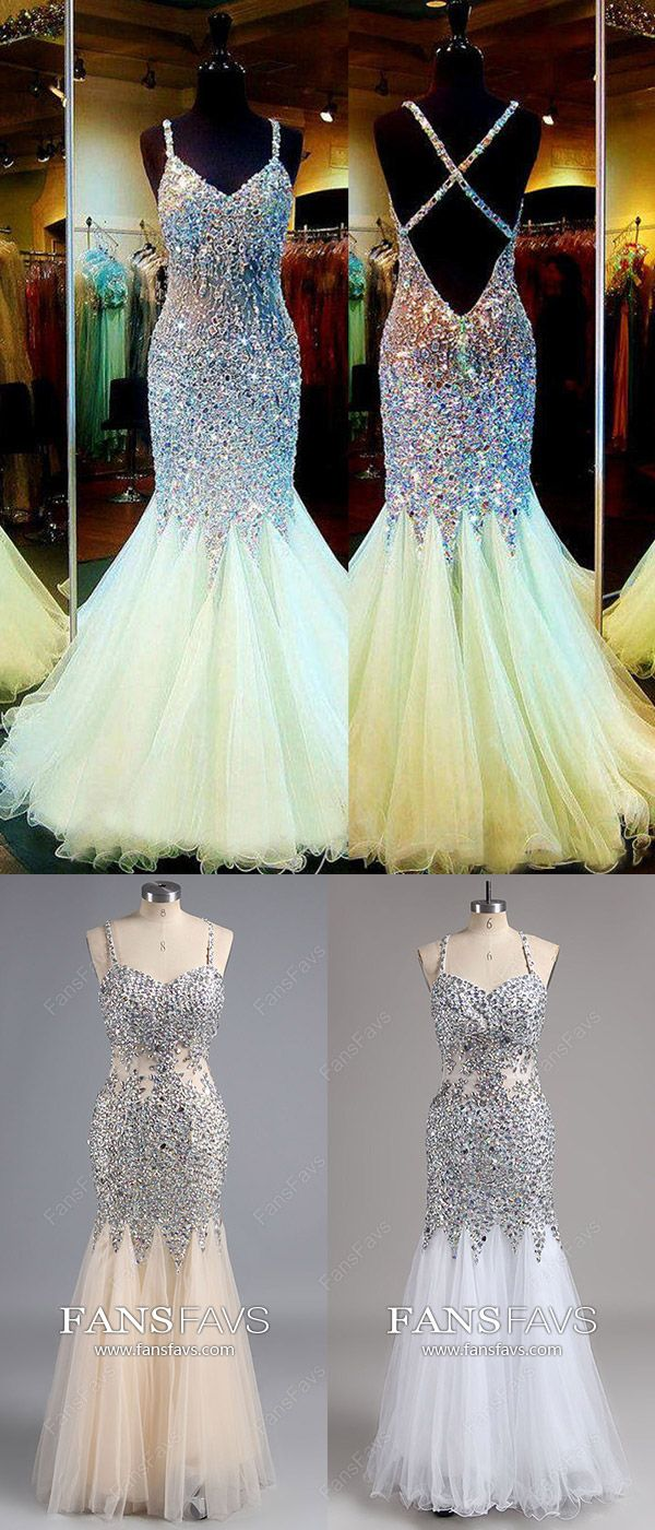 Long prom dresses mermaidsparkly champagne prom dresses vnecksexy