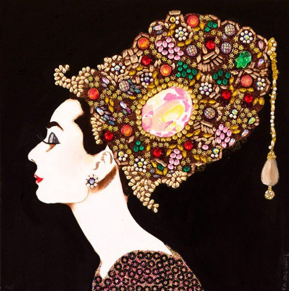 """""""Gem Palace Audrey with Rose Diamond"""" 24 x 24. Acrylic and mixed media on canvas heavy resin."""