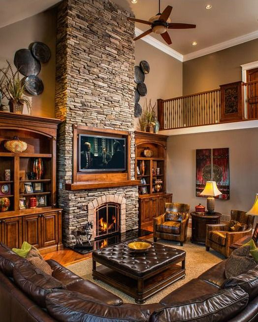 Living Room Decorating Ideas With Stone Fireplace Retro Furniture Uk 19 Stunning Rustic Rooms Charming Pinterest Designs And House