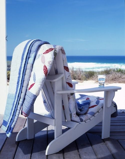Seaside: At The Beaches, Adirondack Chairs, Beaches House, Beaches Chairs, The Ocean, The View, Blue Quilts, Decks Chairs, The Sea