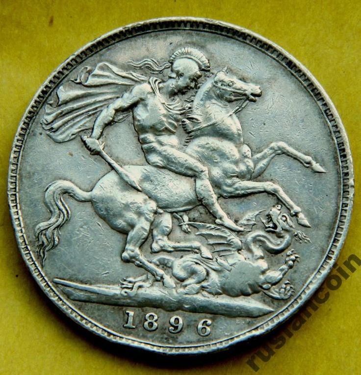 Крона Англия корона Виктория 1896 LX шаль СЕРЕБРО Crown Silver