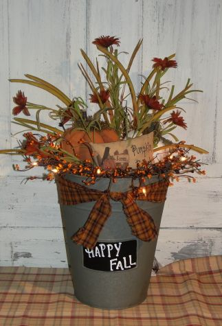 Primitive Fall Pumpkin SapTin Bucket with lights
