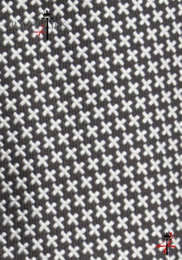 Particolare Tessuto Cravatta in Seta Jacquard Nera Pied de Poule Argento